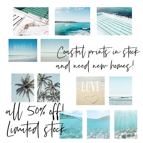 Selection of Beach/Coast prints in stock and ready to ship