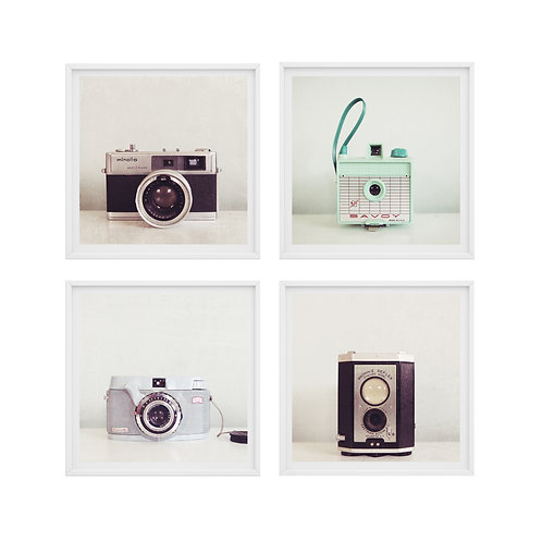 Set of 4 Vintage and Retro Camera prints or canvas wraps