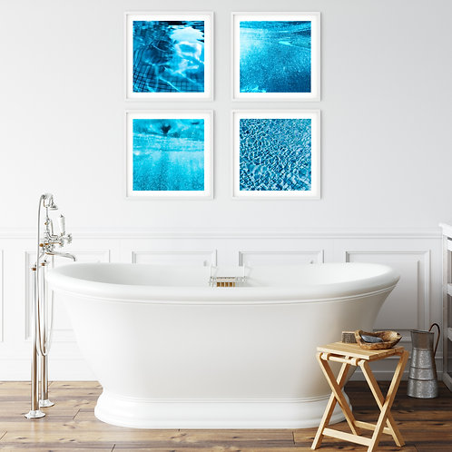 Dive In - set of 4 blue abstract prints or canvas wraps to add a pop of summer!