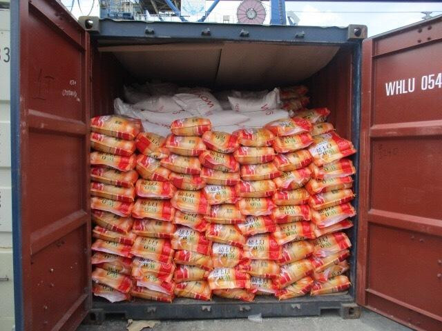 Our rice shipment to Hong Kong loaded into container yesterday.