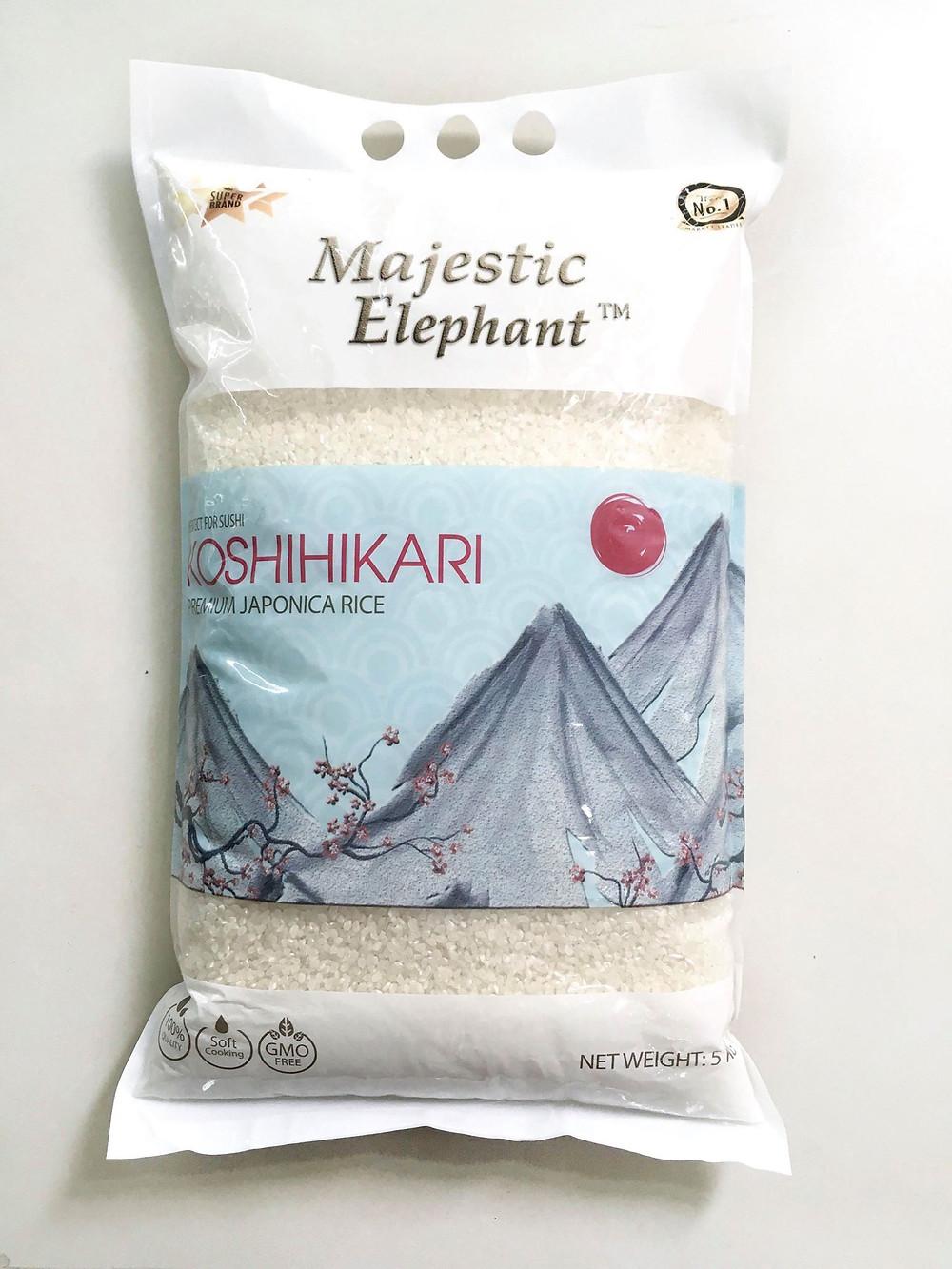 Packing 5kg Majestic Elephant Premium Japonica rice Koshihikari