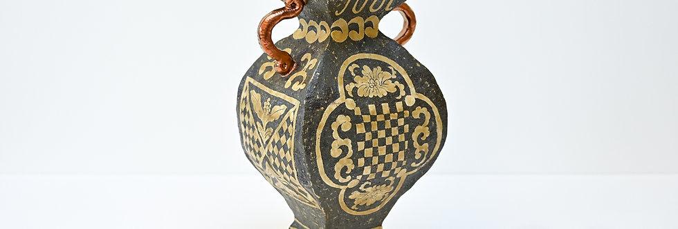 """Hand-built pot - """"Square vessel with copper paint"""" (2021)"""
