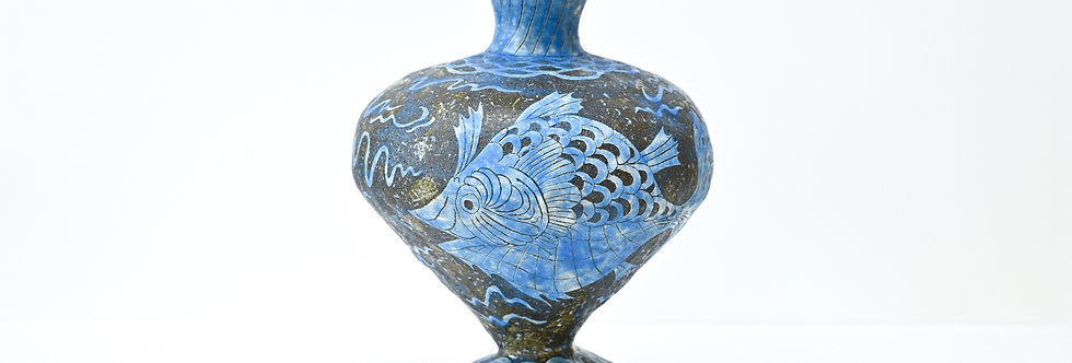 """Hand-built pot - """"Fishes swimming"""" (2021)"""