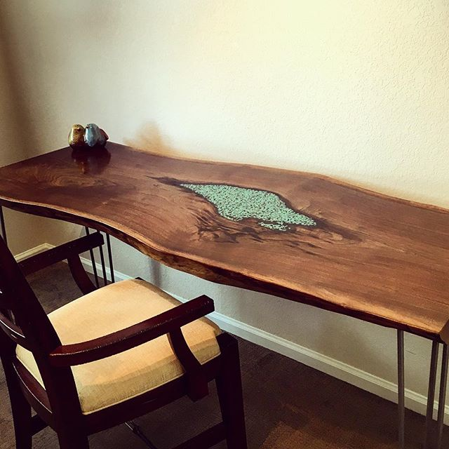 Live Edge Desk w/ Turquoise Inlay