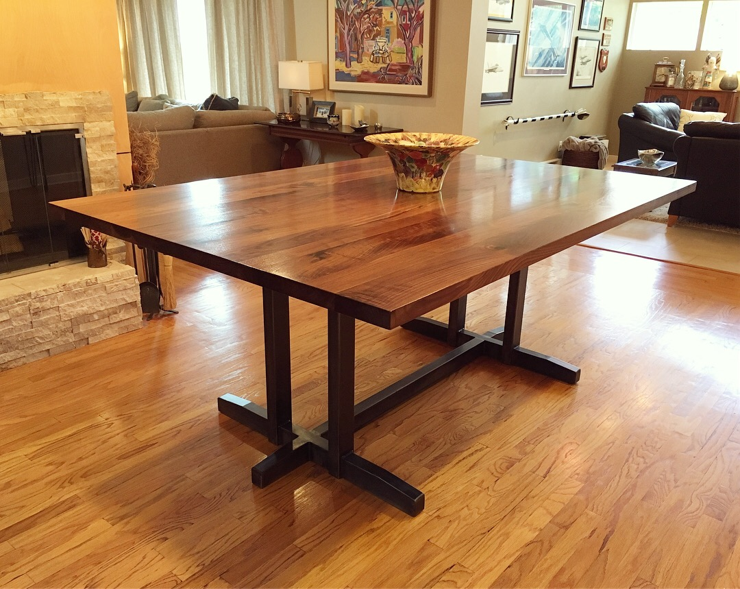 Trestle Style Walnut Dining Table