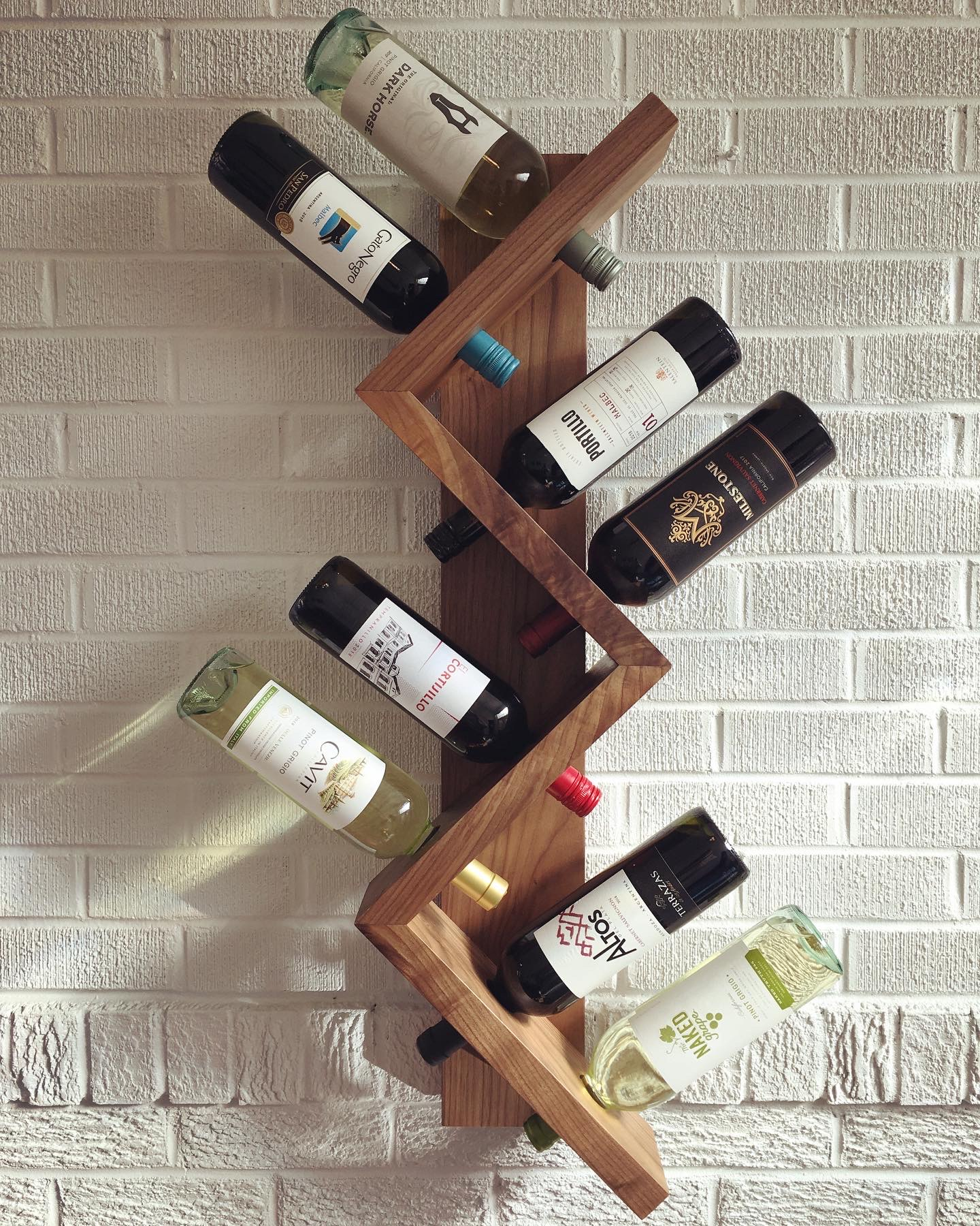 Eight Bottle Walnut Wine Rack