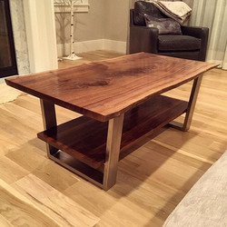 Live Edge Coffee Table with Shelf