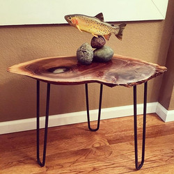 Walnut Slice Accent Table