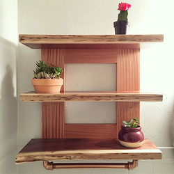 Sapele & Walnut Bathroom Shelves