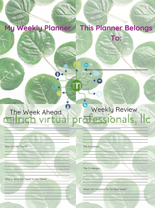 Undated Weekly Planner with Foliage Theme