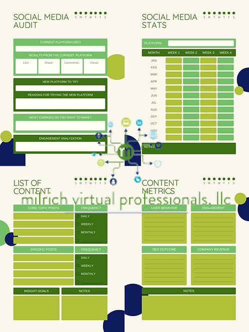 Green Modern Social Media Planner