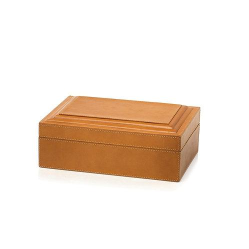 Leather Decorative Box, Tan