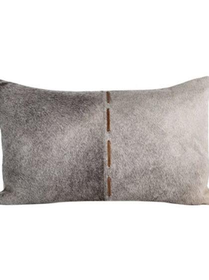 "Aman 20""x12"" Leather Patchwork Throw Pillow, Fur Coated"