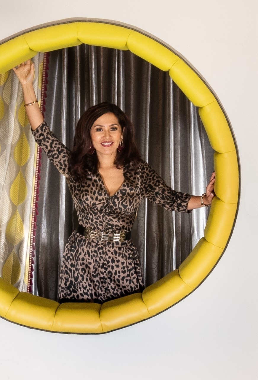 Upholstered circle with leopard dress 11
