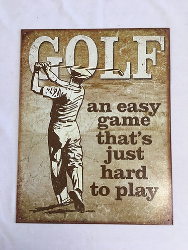 Metal Tin Crafted Golf Poster
