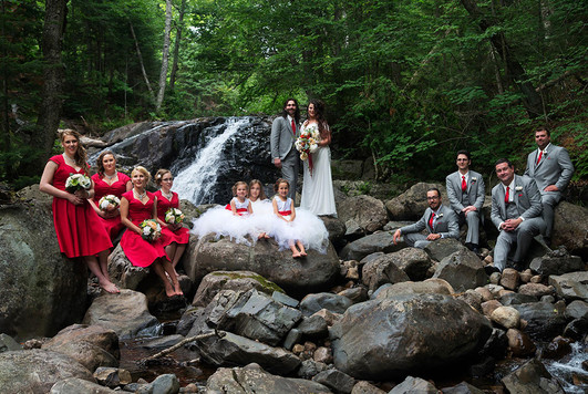Wedding party beside the Stokely Creek falls