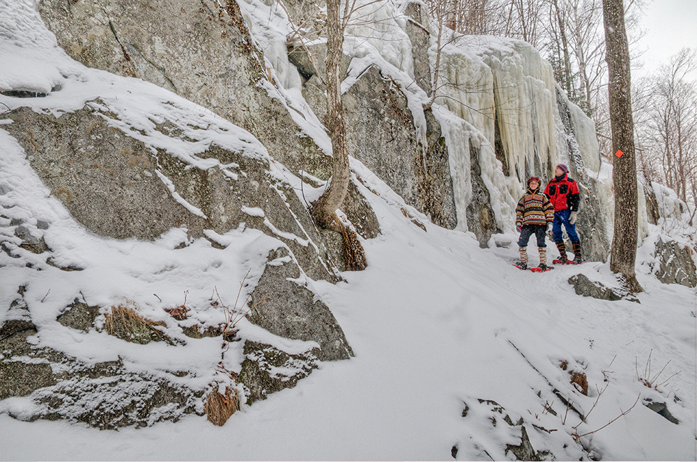 Ice cliffs and snowshoeing
