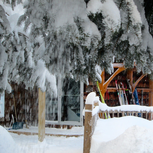 Lodge covered in snow