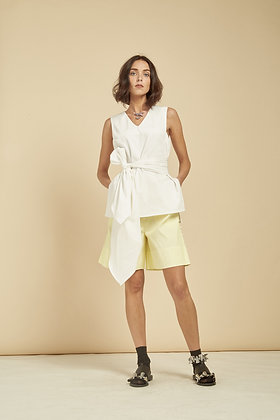 Dapo V Neck Top With Self Tied Belt - White