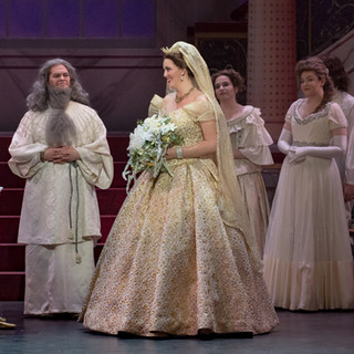 Cenerentola: Stitched trim along the hem of the veil and horsehair to the tiara.  Prince: Stitched the trim along the front of Prince's coat.   Draper (for Cenerentola): Kelsey Burns  Draper (for Prince): Rachel Dombi Photo Credit: Peter Mueller
