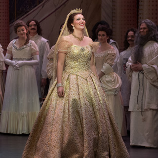 Stitched trim along the hem of the veil and horsehair to the tiara.  Draper: Kelsey Burns Photo Credit: Peter Mueller