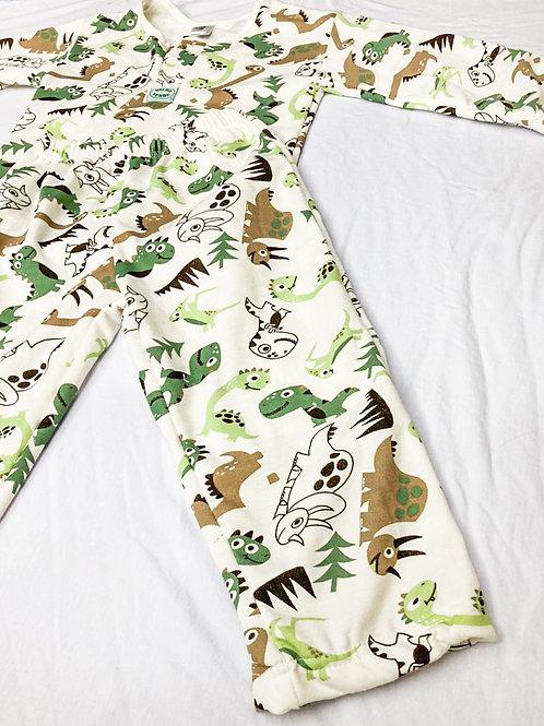 Pijama Flanela Dinossauro Verde