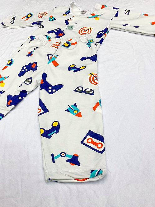 Pijama Flanela Foguete Azul