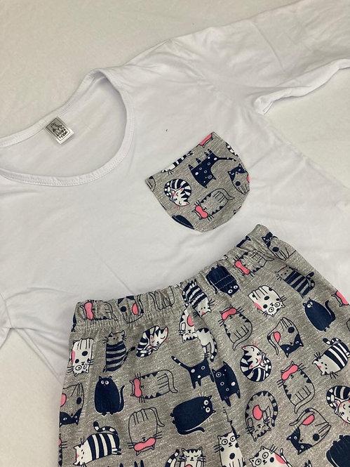 Pijama Malha Gato Cinza