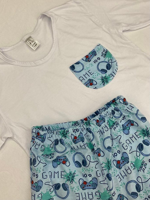 Pijama Malha Game Azul