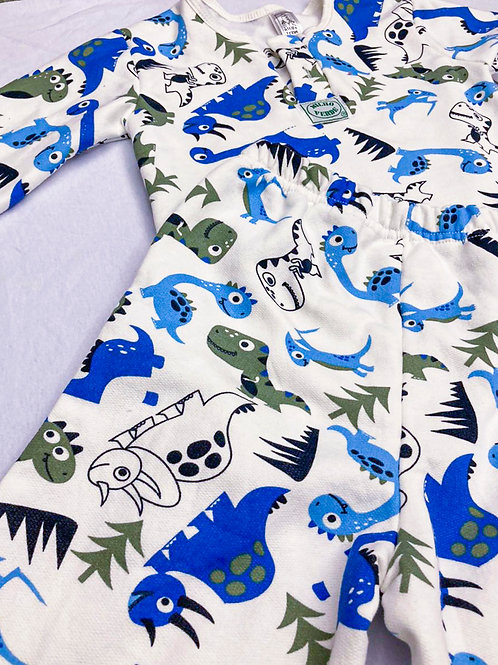 Pijama Flanela Dinossauro Azul
