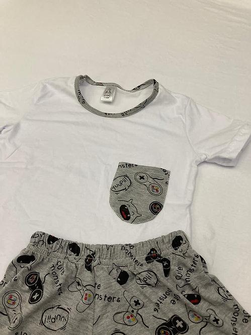 Pijama Curto Game Cinza