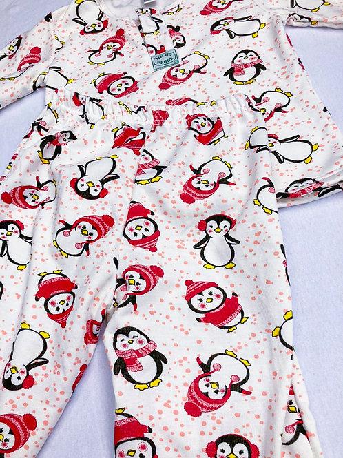 Pijama Flanela Pinguim Vermelho