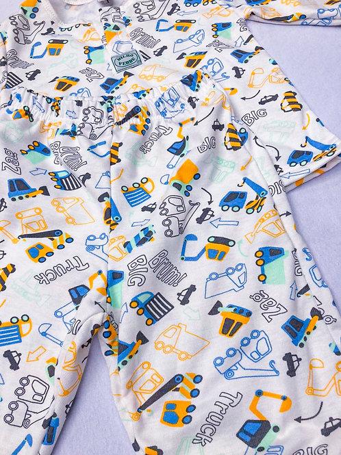 Pijama Flanela Trator Laranja
