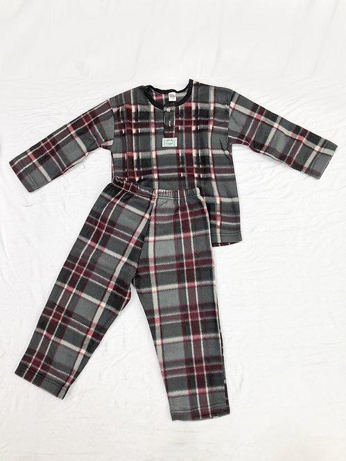 Pijama Soft Xadrez Cinza e Vinho