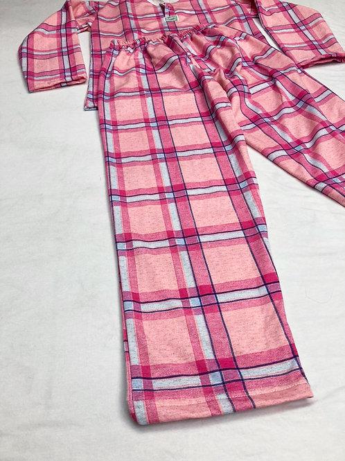 Pijama Flanela Xadrez Rosa