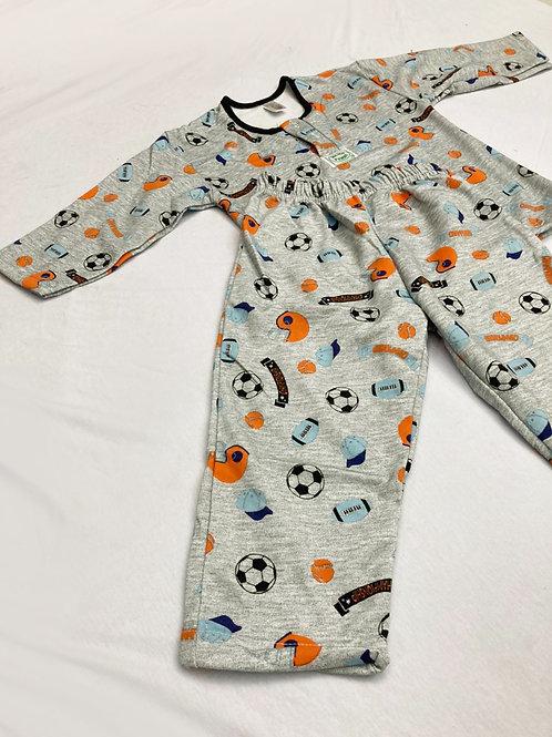 Pijama Flanela Bolas Cinza