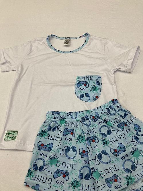 Pijama Curto Game Azul