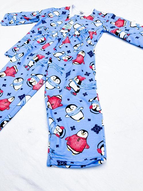 Pijama Flanela Pinguim Azul