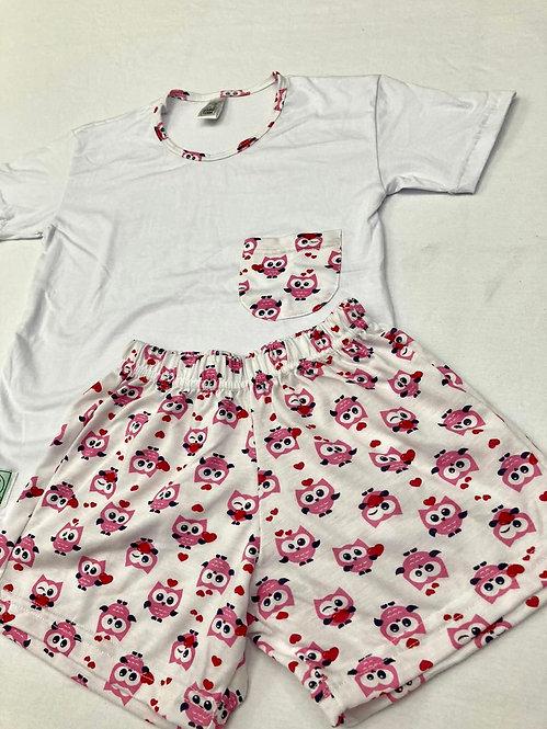 Pijama Curto Coruja Rosa