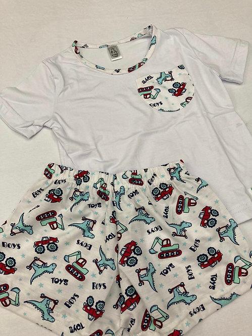Pijama Curto Dinossauro Trator