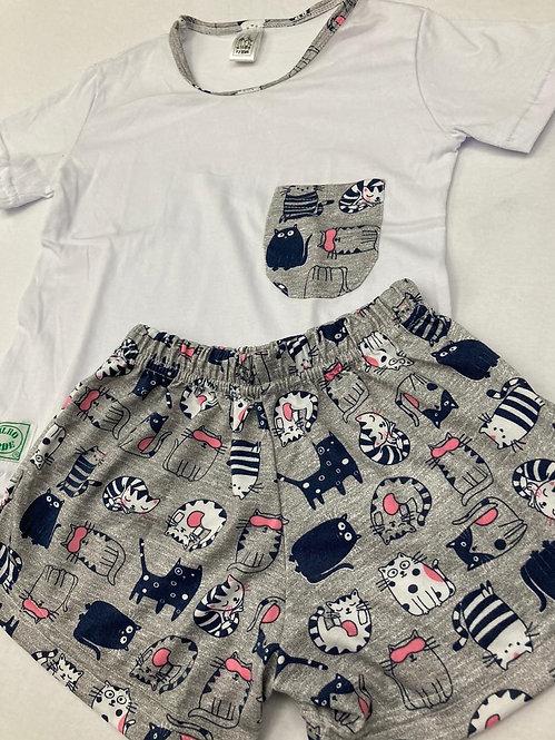 Pijama Curto Gatos