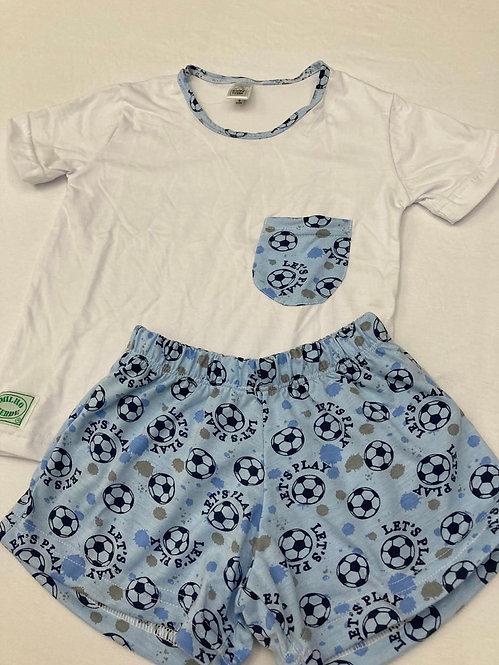 Pijama Curto Futebol Azul