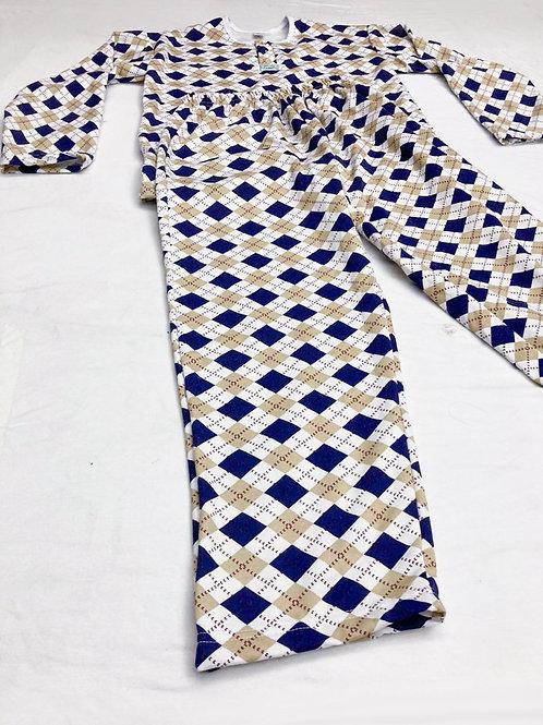 Pijama Flanela Geométrico Azul