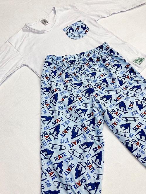 Pijama Malha Skate Azul