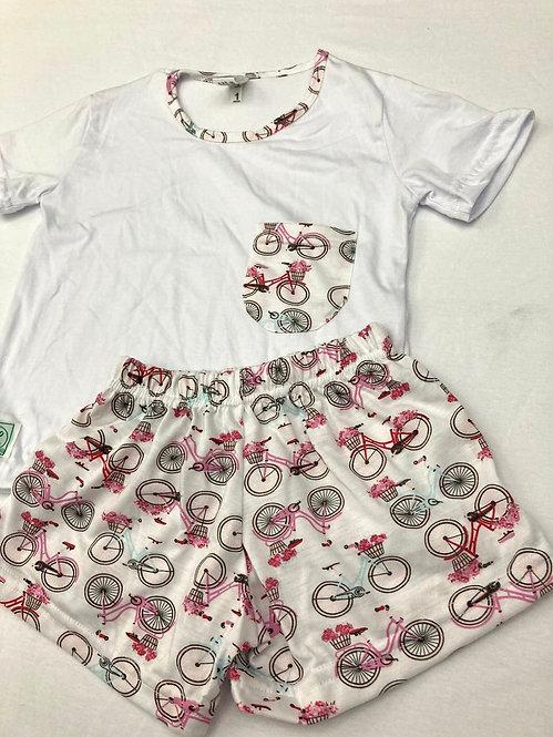 Pijama Curto Bike Rosa