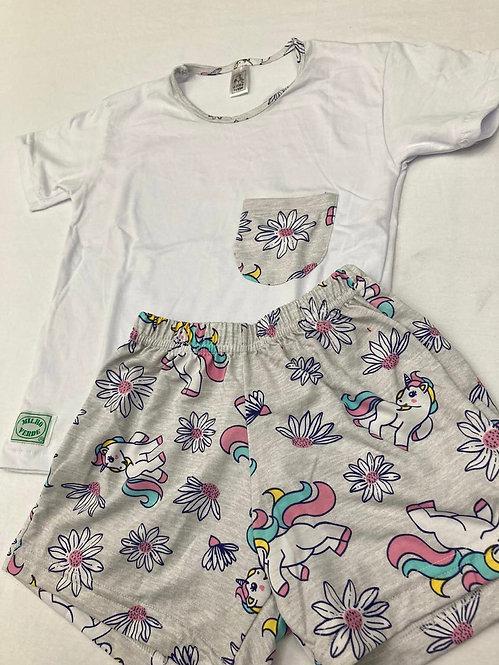 Pijama Curto Unicórnio Cinza
