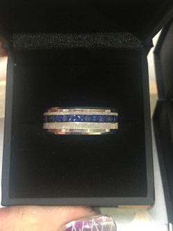 18ct white gold and sapphire gents wedding ring