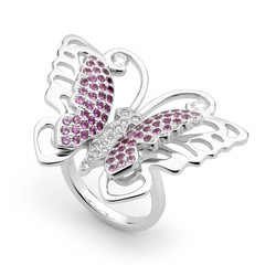 18ct white gold diamond, sapphire and ruby butterfly ring.