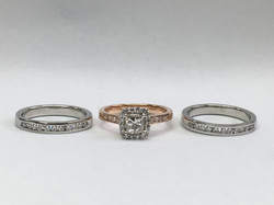 Remodeled 3 ring set in 18ct Rose gold and platinum.
