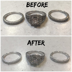 Before and after clean polish and rhodium plating.
